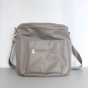 Fawn Design Gray Faux Leather Diaper Bag Backpack